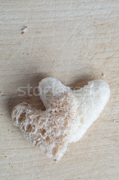 Two Bread Hearts from Above Stock photo © frannyanne