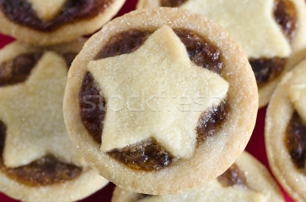 Mince Pies with Star Shaped Pastry from Above Stock photo © frannyanne
