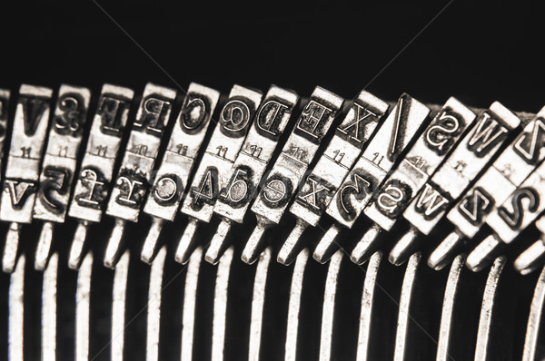 Close Up of Type Hammers on Old Mechanical Typewriter Stock photo © frannyanne