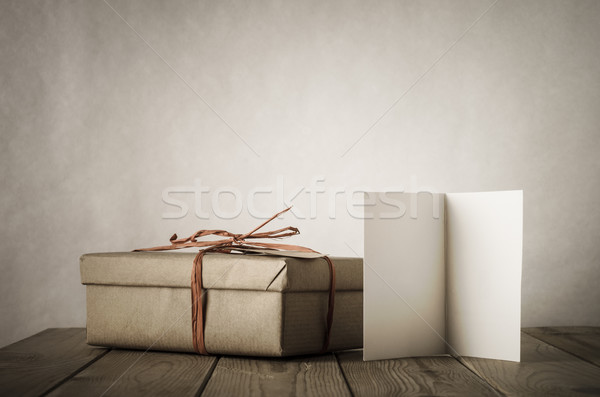 Simple Gift Box and Card on Table Stock photo © frannyanne