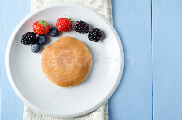 Fruit Pancake Breakfast Overhead Stock photo © frannyanne