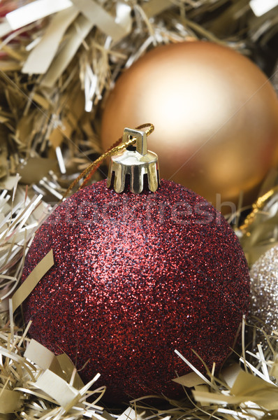 Christmas Baubles and Tinsel Close Up Stock photo © frannyanne
