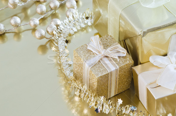 Christmas Gifts Gold Collection Stock photo © frannyanne