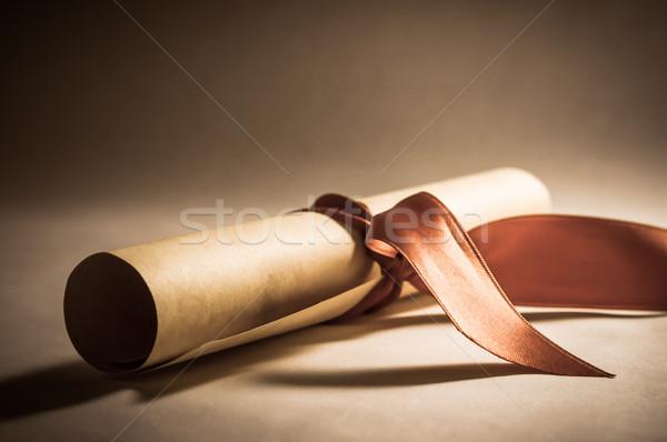 Diploma tekercs szalag klasszikus pergamen tekert Stock fotó © frannyanne
