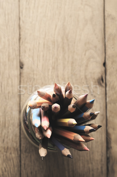 Filled Pencil Pot From Above on Wood Plank Table with Filtered E Stock photo © frannyanne