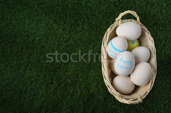 Сток-фото: плетеный · пасхальное · яйцо · корзины · зеленая · трава · выстрел · бледный