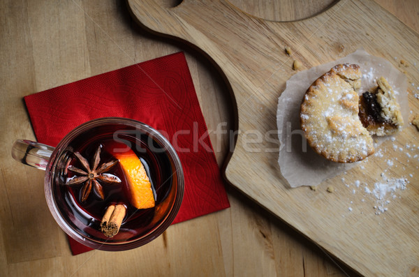 Christmas Mince Pie with Mulled Wine from Above Stock photo © frannyanne