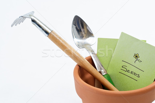 Plant Pot Tools and Seeds Stock photo © frannyanne
