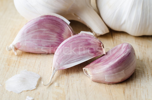 Garlic Cloves and Bulbs Close Up Stock photo © frannyanne