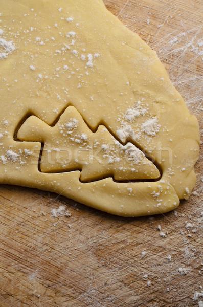 Karácsonyfa kivágás sütemény forma keksz süti Stock fotó © frannyanne