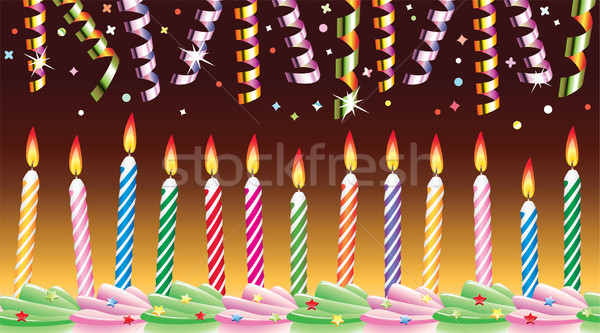 birthday candles on cake and streamers Stock photo © freesoulproduction
