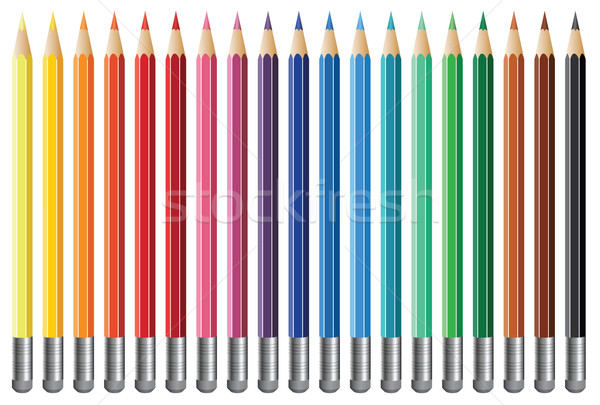 Vektor Bleistifte neunzehn Radiergummi Büro Stock foto © freesoulproduction