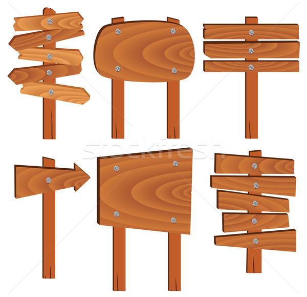 Vektor fából készült feliratok elemek fa út Stock fotó © freesoulproduction
