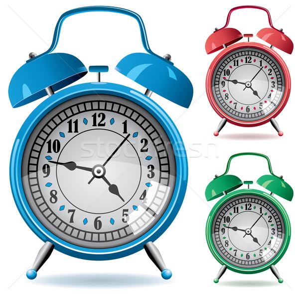 Vektor szett színes retro riasztó órák Stock fotó © freesoulproduction