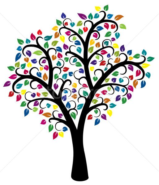 Foto stock: Colorido · árvore · vetor · projeto · primavera · madeira