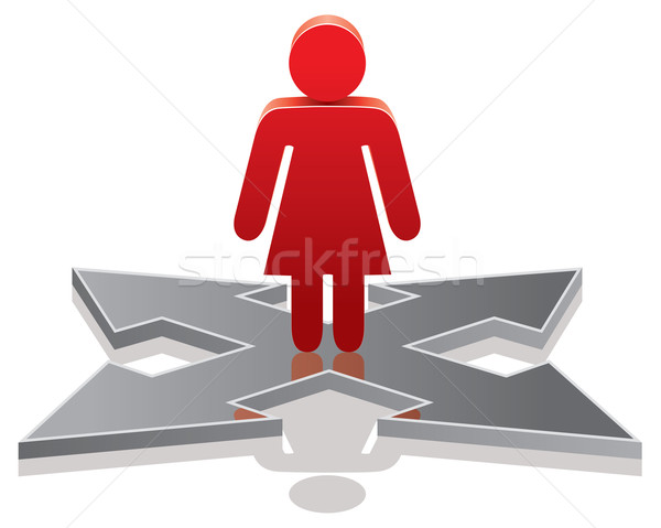 vector woman making a choice on crossroads  Stock photo © freesoulproduction