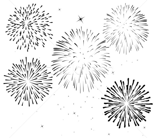 Vector blanco negro fuegos artificiales feliz resumen diversión Foto stock © freesoulproduction