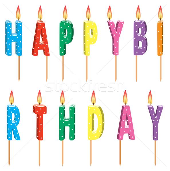 Vecteur coloré bougies d'anniversaire fête bois heureux Photo stock © freesoulproduction