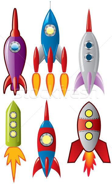 vector set of stylized space retro rocket ships Stock photo © freesoulproduction