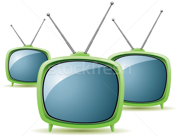 vector green retro tv sets Stock photo © freesoulproduction