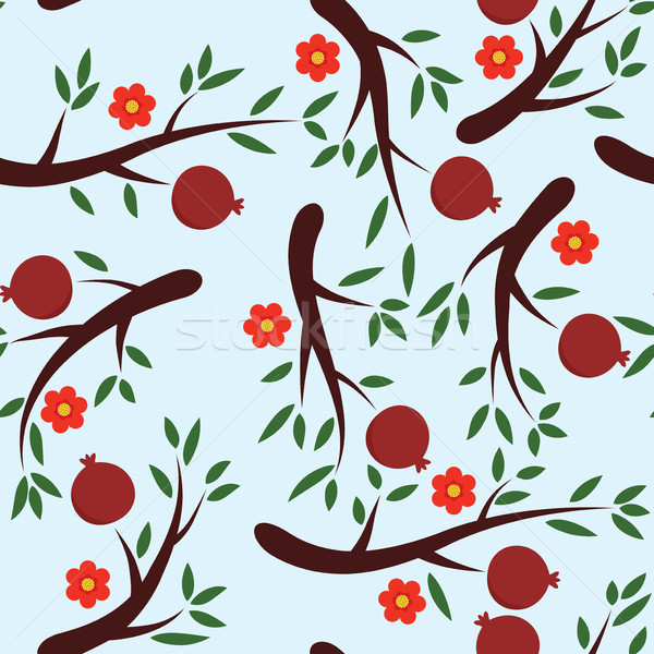 vector seamless pomegranate background pattern with fruits and f Stock photo © freesoulproduction