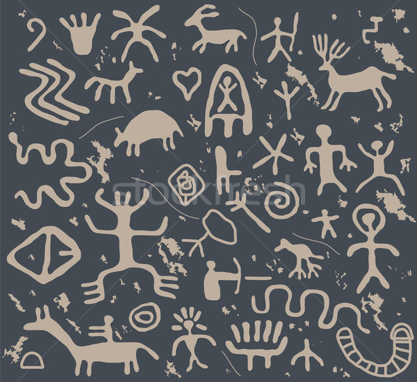 vector ancient petroglyphs  Stock photo © freesoulproduction