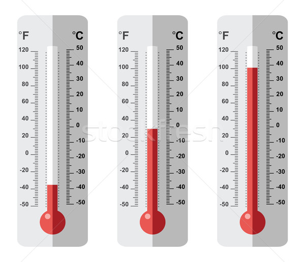 Vector ingesteld thermometer iconen verschillend celsius Stockfoto © freesoulproduction