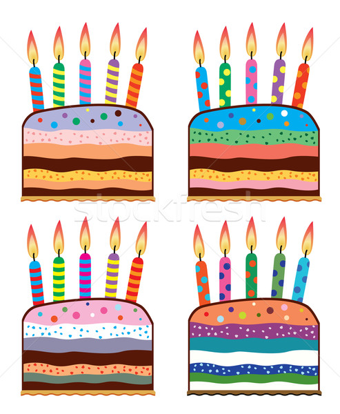 Stupendous Set Of Colorful Birthday Cakes Vector Illustration C Dmitry Funny Birthday Cards Online Elaedamsfinfo