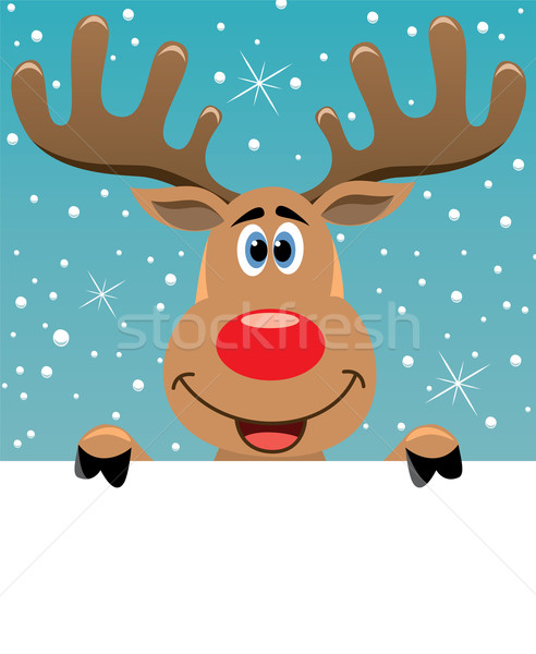 rudolph deer holding blank paper Stock photo © freesoulproduction