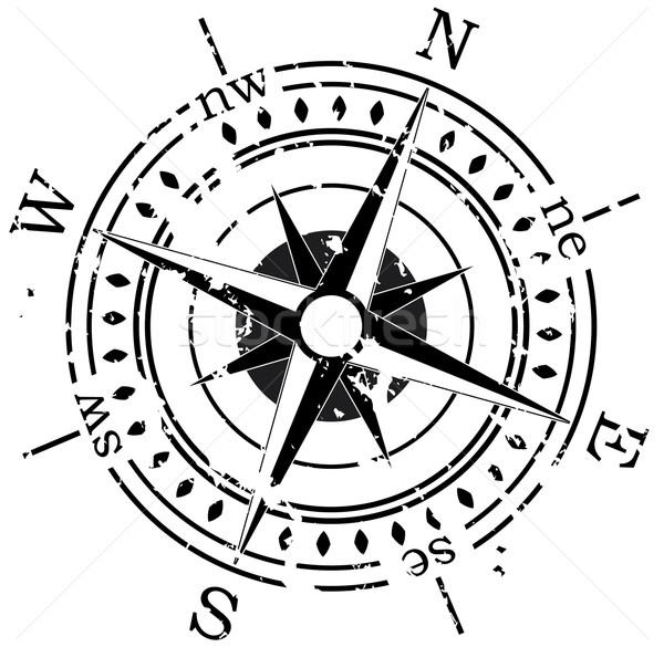 вектора компас Гранж земле знак путешествия Сток-фото © freesoulproduction