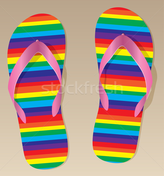 vector flip flops on the sand Stock photo © freesoulproduction