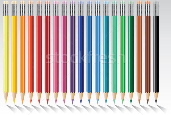 Сток-фото: вектора · красочный · карандашей · девятнадцать · Eraser · служба