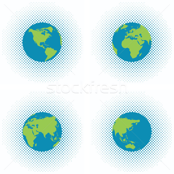 vector dotted backgrounds with earth globe Stock photo © freesoulproduction