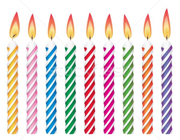Stock fotó: Vektor · színes · születésnapi · gyertyák · buli · boldog · születésnap