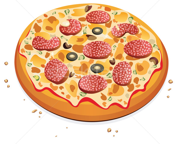 vector pizza with salami Stock photo © freesoulproduction
