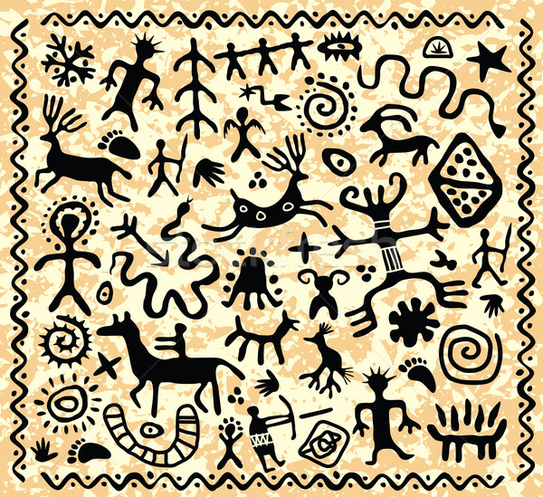 vector ancient cave petroglyphs pattern Stock photo © freesoulproduction