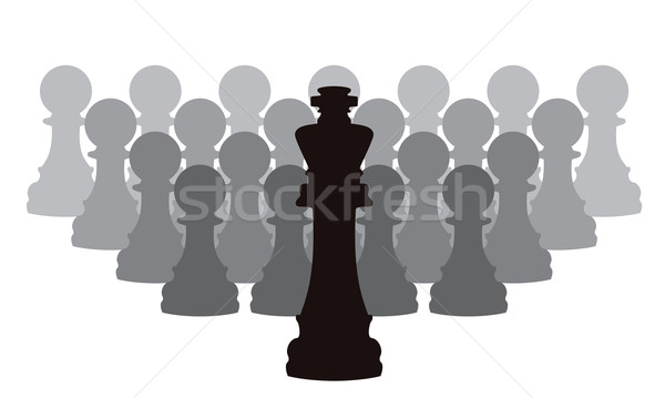 vector chess pieces of a king and pawns Stock photo © freesoulproduction