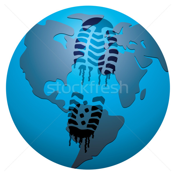 vector concept of global footprint Stock photo © freesoulproduction