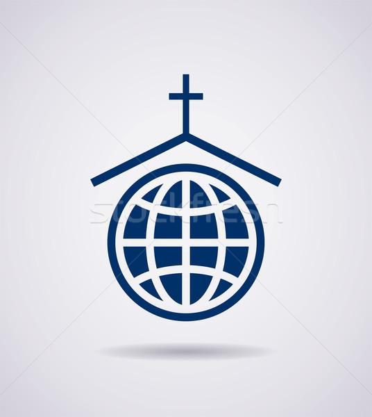 Foto stock: Vector · símbolo · icono · iglesia · familia · cruz