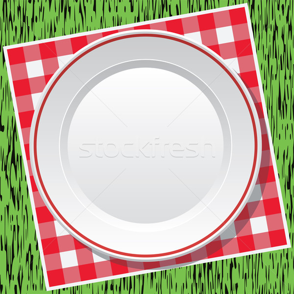 vector red picnic tablecloth and empty plate on green grass Stock photo © freesoulproduction