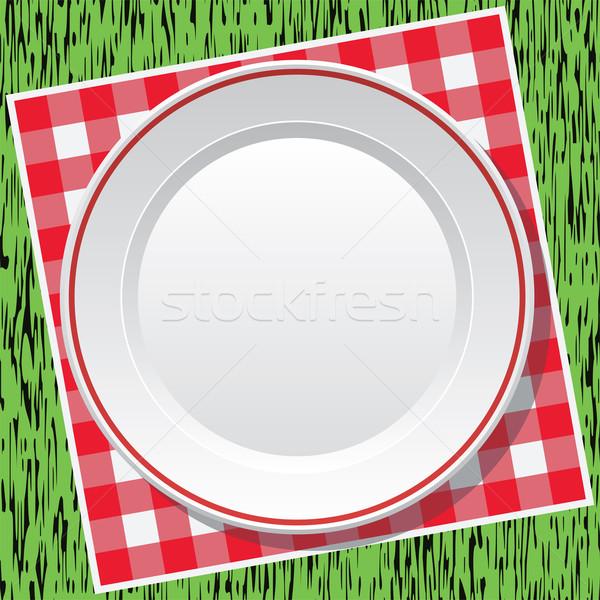 Vector rojo picnic mantel vacío placa Foto stock © freesoulproduction