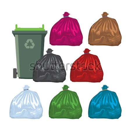 Stock photo: vector flat recycling wheelie bins full of rubbish