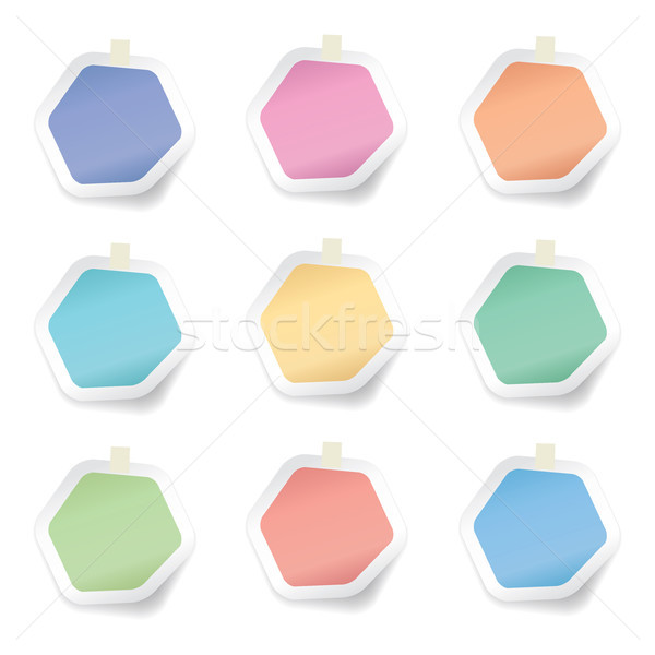 vector collection of colorful hexagon sticky paper notes Stock photo © freesoulproduction