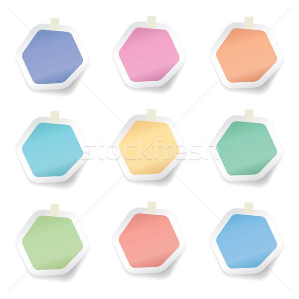 Vektor gyűjtemény színes hatszög papír jegyzetek Stock fotó © freesoulproduction
