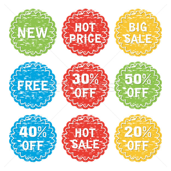 vector set of discount and sale labe Stock photo © freesoulproduction