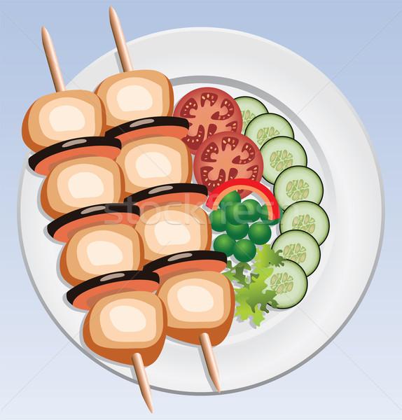 Vector gegrilde kip groenten voedsel vis licht Stockfoto © freesoulproduction