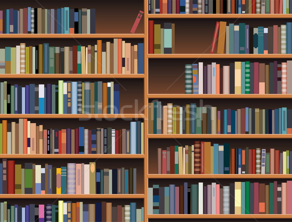 Vector houten boekenplank boek hout achtergrond Stockfoto © freesoulproduction