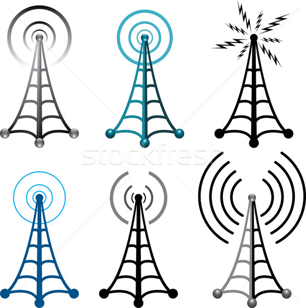 vector radio tower symbols Stock photo © freesoulproduction