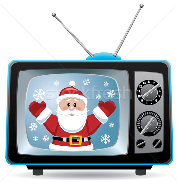 vector santa claus in retro tv set Stock photo © freesoulproduction