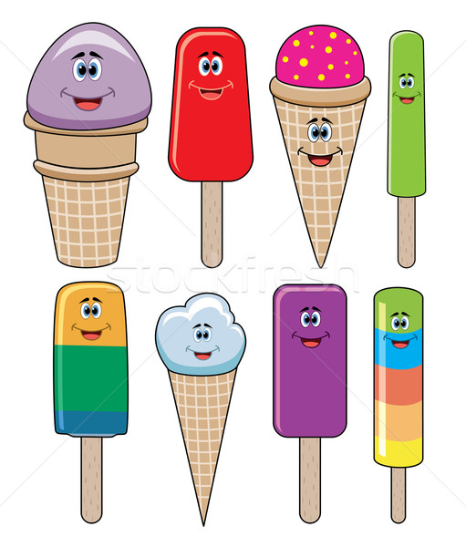 vector set of funny icecream and popsicles  Stock photo © freesoulproduction